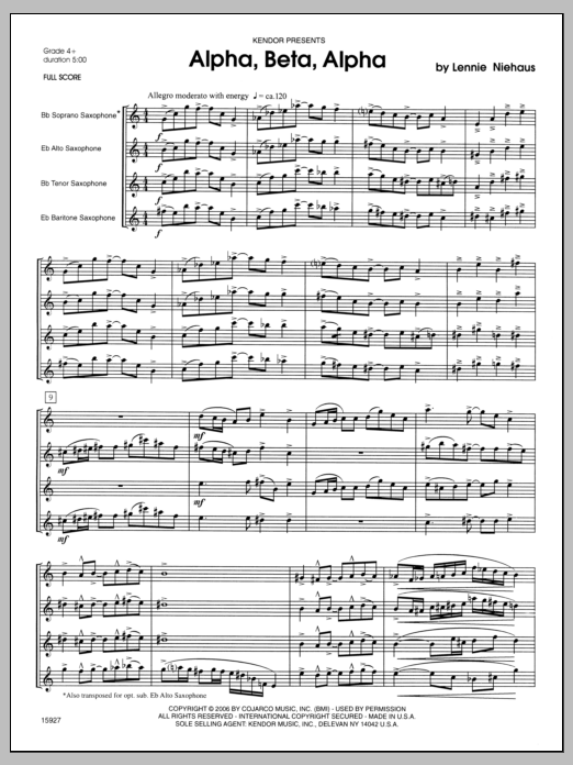 Alpha, Beta, Alpha (COMPLETE) sheet music for saxophone quartet by Lennie Niehaus. Score Image Preview.