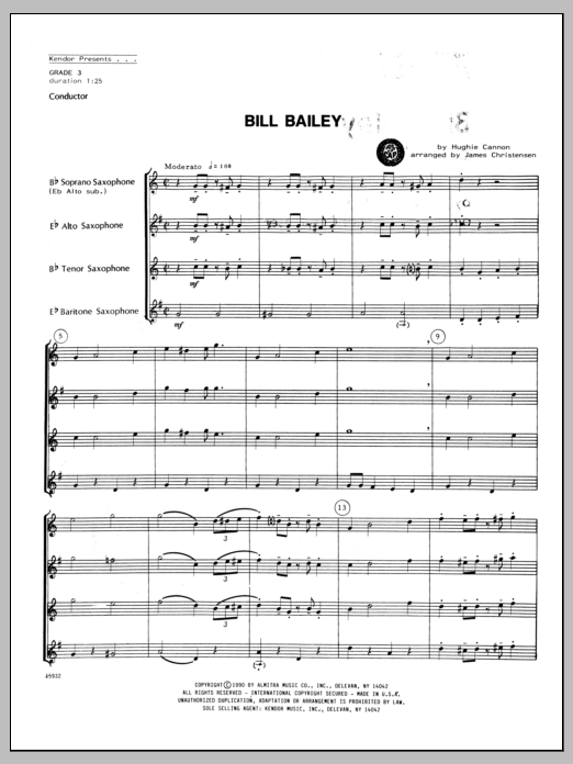 Bill Bailey (COMPLETE) sheet music for saxophone quartet by Christensen and Hughie Cannon. Score Image Preview.