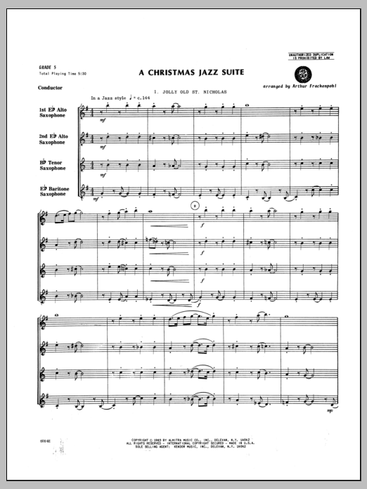 Christmas Jazz Suite, A (COMPLETE) sheet music for saxophone quartet by Arthur Frackenpohl and Miscellaneous. Score Image Preview.