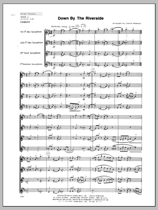 Down by the Riverside (COMPLETE) sheet music for saxophone quartet by Lennie Niehaus and Miscellaneous. Score Image Preview.