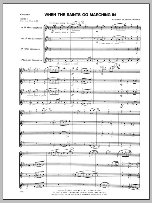 When the Saints Go Marching In (COMPLETE) sheet music for saxophone quartet by Lennie Niehaus and Miscellaneous. Score Image Preview.