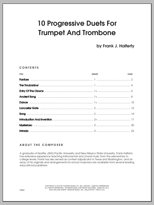 10 Progressive Duets For Trumpet And Trombone Sheet Music