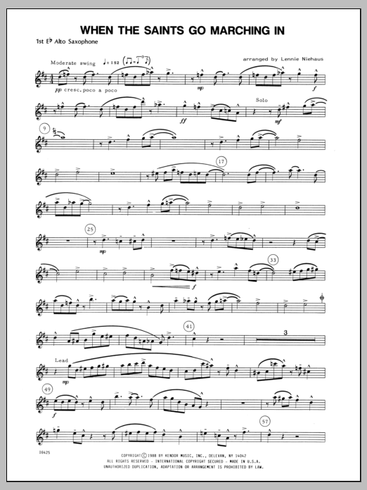When the Saints Go Marching In - Alto Sax 1 | Sheet Music Direct
