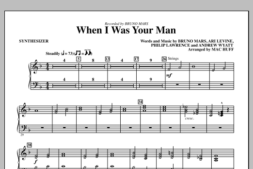 When I Was Your Man (complete set of parts) sheet music for orchestra/band by Mac Huff and Bruno Mars. Score Image Preview.