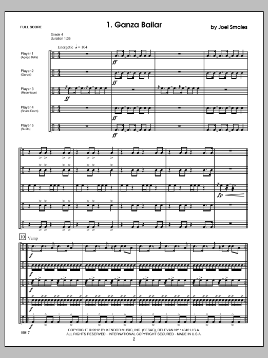 Brazilian Beat (COMPLETE) sheet music for percussions by Smales. Score Image Preview.