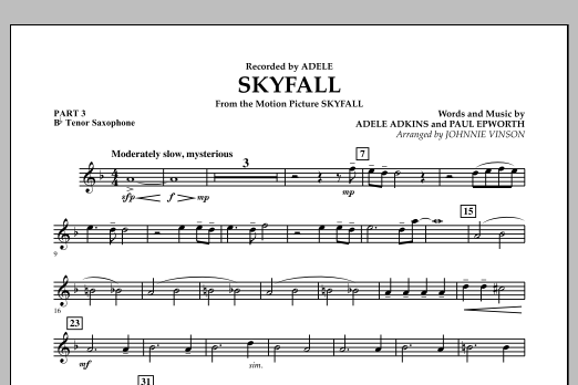 Skyfall - Pt.3 - Bb Tenor Saxophone (Concert Band: Flex-Band)
