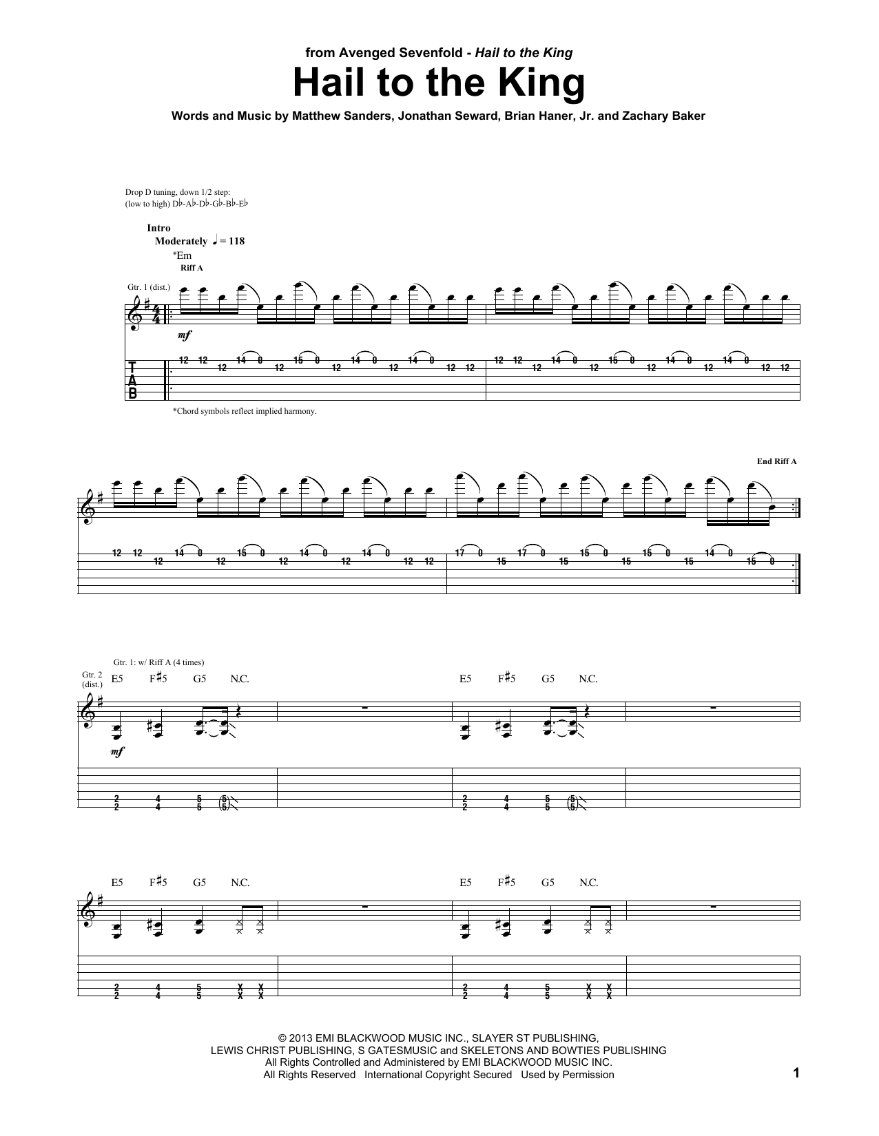 Hail To The King Guitar Tab by Avenged Sevenfold (Guitar Tab u2013 99473)
