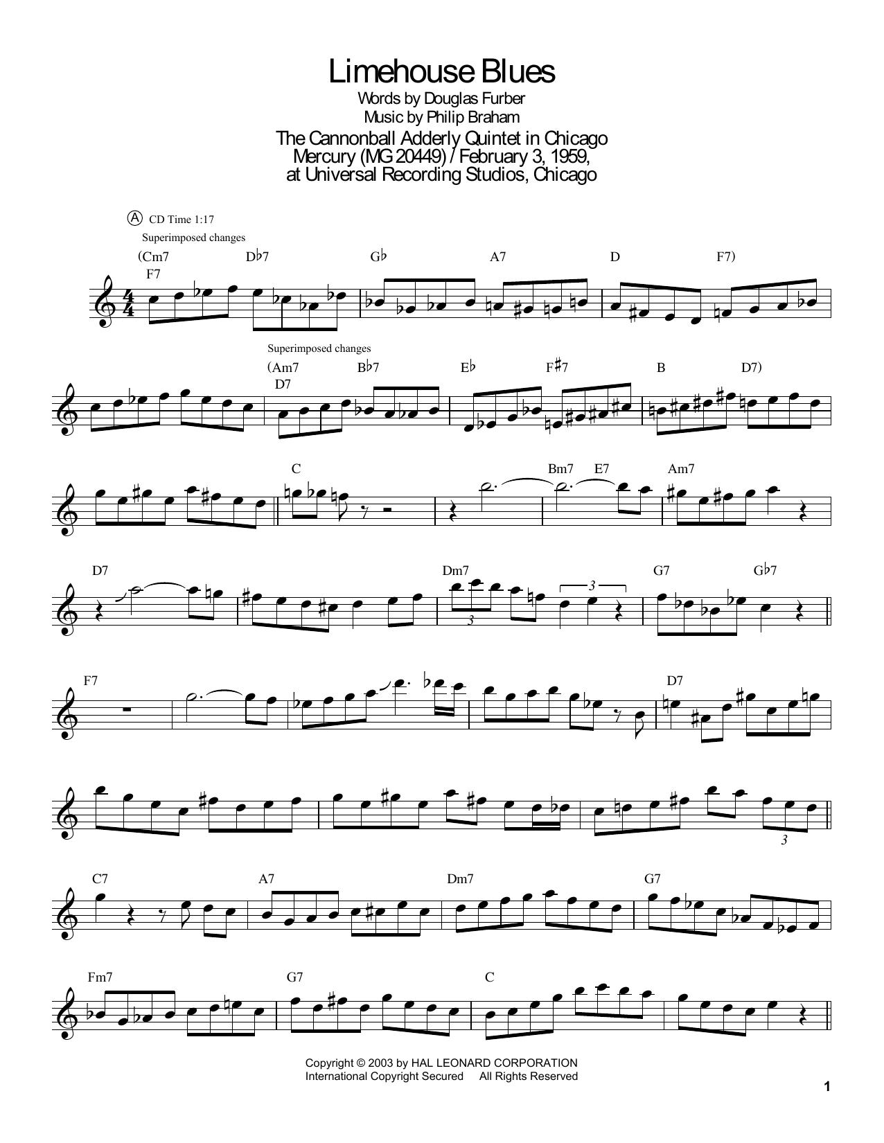 Limehouse Blues (Tenor Sax Transcription)