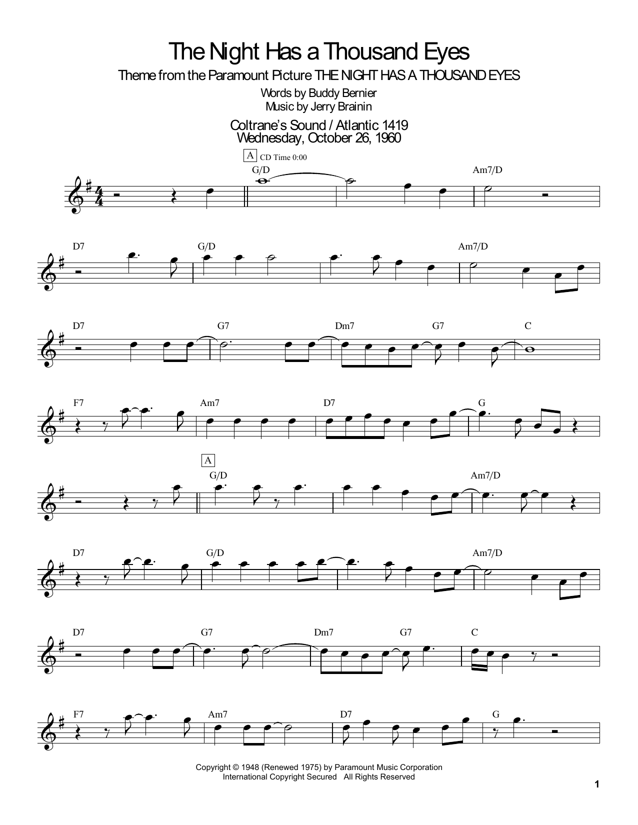 The Night Has A Thousand Eyes Sheet Music