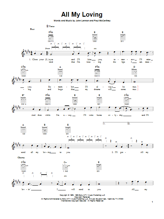 Tablature guitare All My Loving de The Beatles - Tablature guitare facile