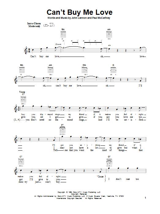 Tablature guitare Can't Buy Me Love de The Beatles - Tablature guitare facile