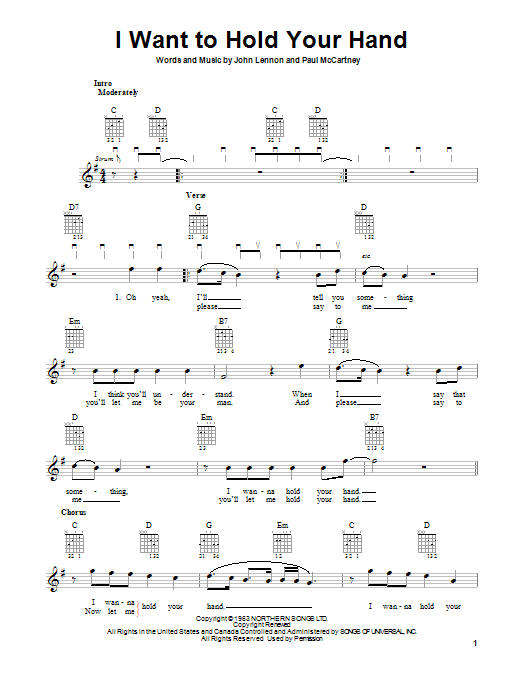 Tablature guitare I Want To Hold Your Hand de The Beatles - Tablature guitare facile