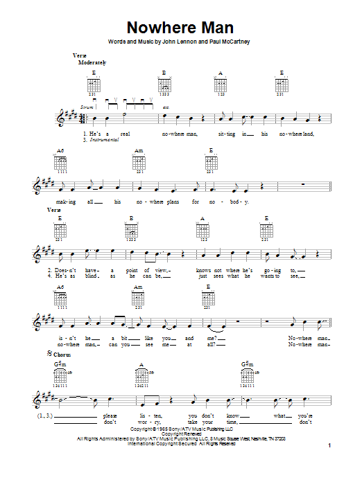 Tablature guitare Nowhere Man de The Beatles - Tablature guitare facile