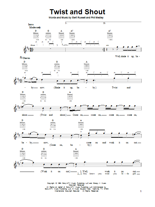 Tablature guitare Twist And Shout de The Beatles - Tablature guitare facile