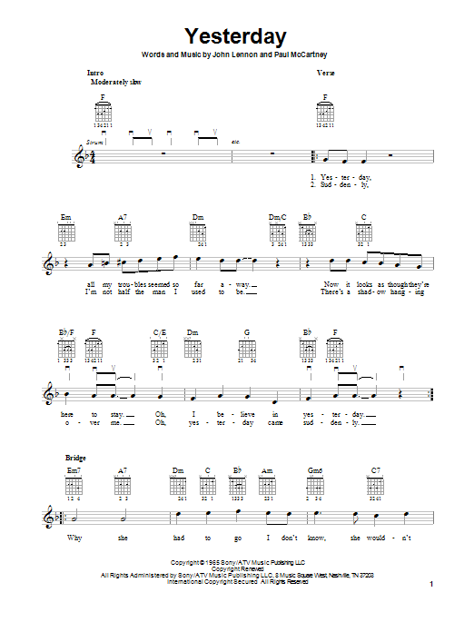 Tablature guitare Yesterday de The Beatles - Tablature guitare facile