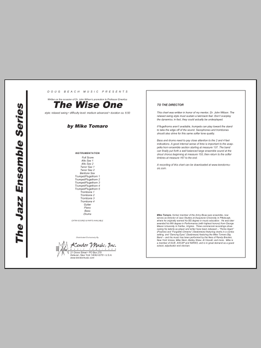 Wise One, The (COMPLETE) sheet music for jazz band by Tomaro. Score Image Preview.
