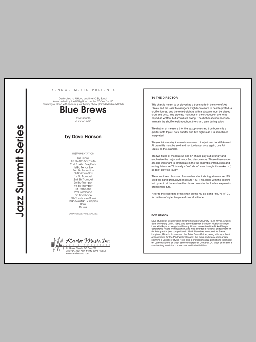 Blue Brews (COMPLETE) sheet music for jazz band by isaac Hanson. Score Image Preview.
