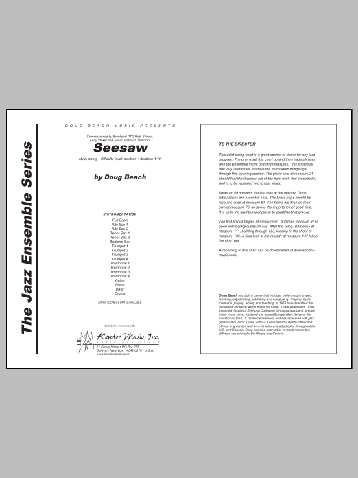 Seesaw (COMPLETE) sheet music for jazz band by Beach. Score Image Preview.