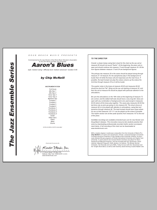 Aaron's Blues (COMPLETE) sheet music for jazz band by McNeill. Score Image Preview.