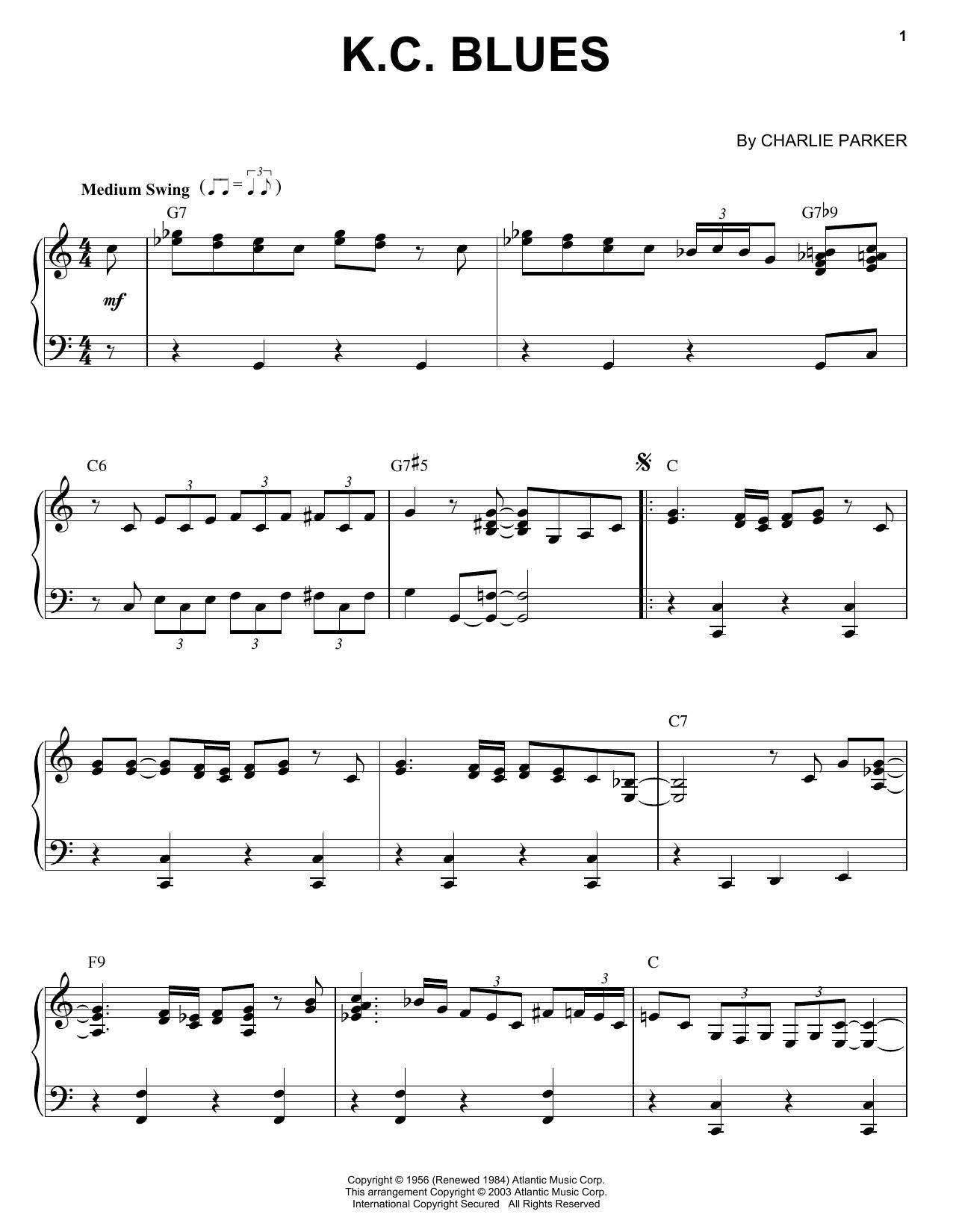 K.C. Blues (Piano Solo)