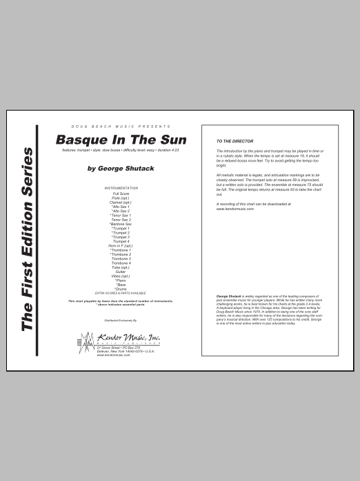 Basque In The Sun (COMPLETE) sheet music for jazz band by Shutack. Score Image Preview.