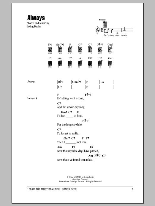 Tablature guitare Always de Irving Berlin - Ukulele (strumming patterns)