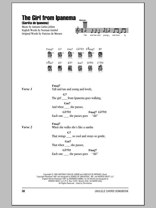 Tablature guitare The Girl From Ipanema (Garôta De Ipanema) de Antonio Carlos Jobim - Ukulele (strumming patterns)