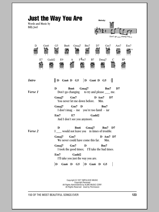 Just The Way You Are Sheet Music Billy Joel Ukulele With