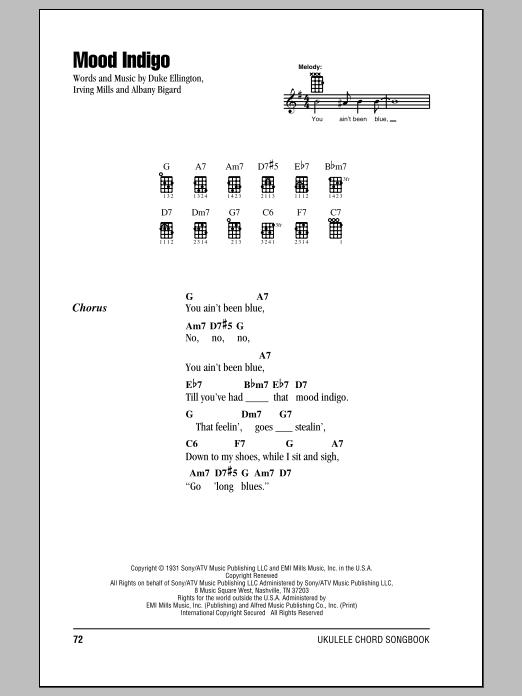 Mood Indigo (Ukulele Chords/Lyrics)