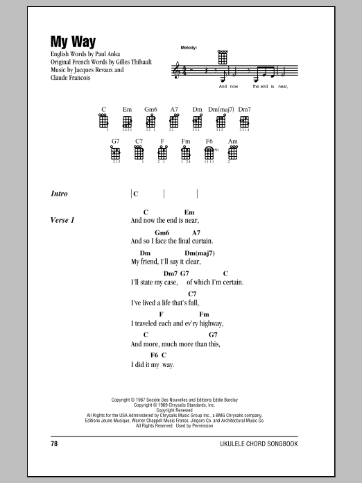Tablature guitare My Way de Frank Sinatra - Ukulele (strumming patterns)