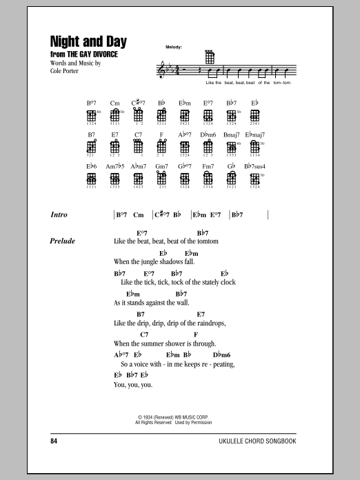 Tablature guitare Night And Day de Cole Porter - Ukulele (strumming patterns)