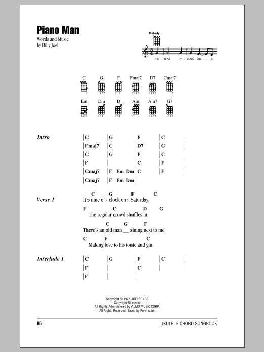 Tablature guitare Piano Man de Billy Joel - Ukulele (strumming patterns)