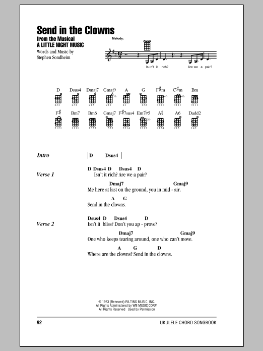 Tablature guitare Send In The Clowns de Stephen Sondheim - Ukulele (strumming patterns)