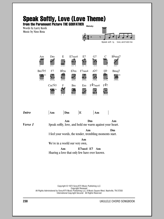 Tablature guitare Speak Softly, Love (Love Theme) de Andy Williams - Ukulele (strumming patterns)
