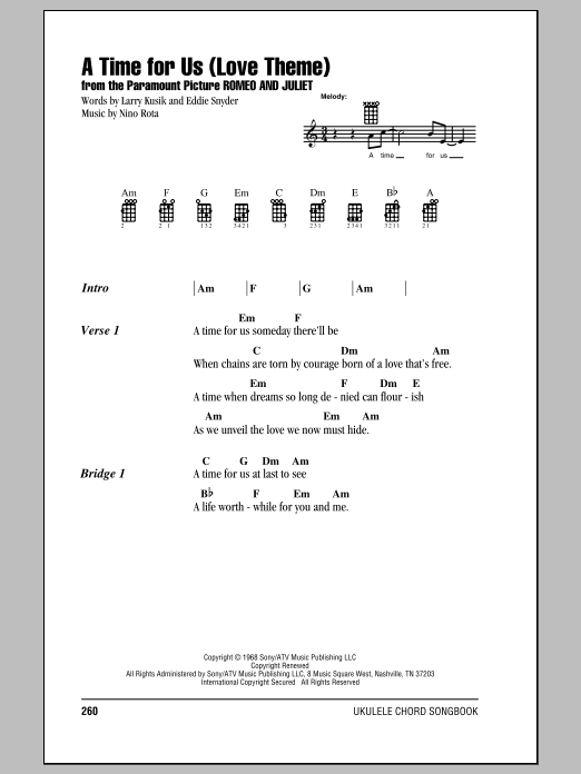 Tablature guitare A Time For Us (Love Theme) de Henry Mancini - Ukulele (strumming patterns)