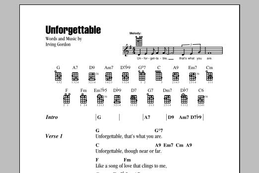 Unforgettable Sheet Music Irving Gordon Ukulele Chordslyrics