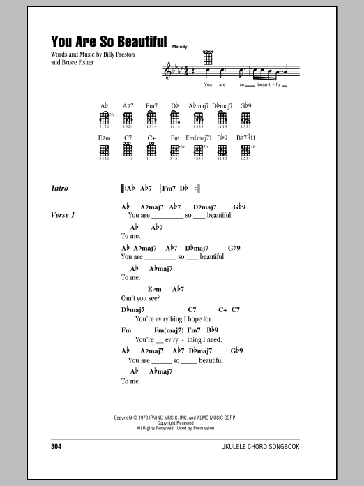 You Are So Beautiful by Joe Cocker Ukulele with Strumming Patterns Digital  Sheet Music