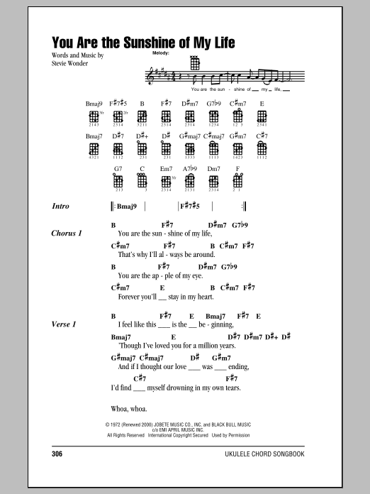Tablature guitare You Are The Sunshine Of My Life de Stevie Wonder - Ukulele (strumming patterns)
