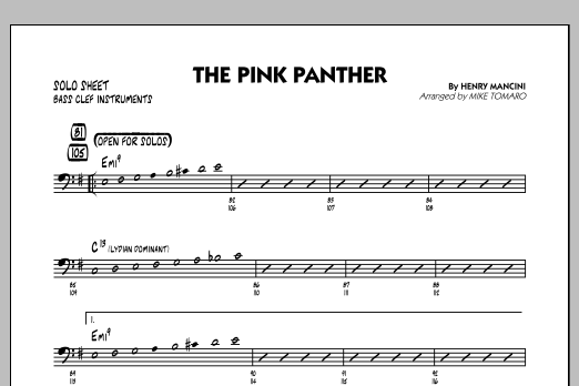 The Pink Panther - Bass Clef Solo Sheet (Jazz Ensemble)