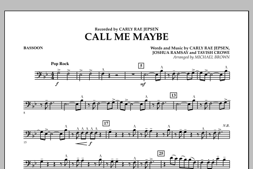 Call Me Maybe - Bassoon (Concert Band)