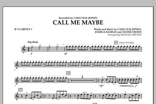 Call Me Maybe - Bb Clarinet 1 (Concert Band)