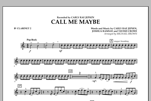 Call Me Maybe - Bb Clarinet 2 (Concert Band)