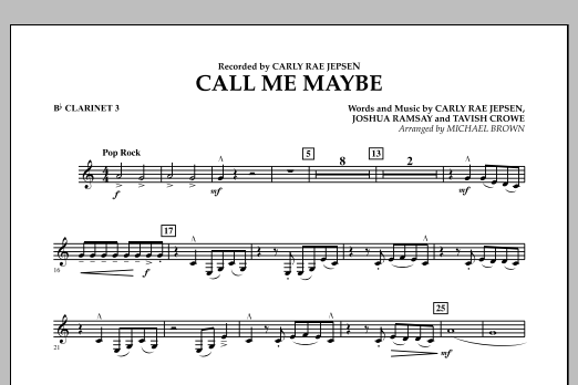 Call Me Maybe - Bb Clarinet 3 (Concert Band)