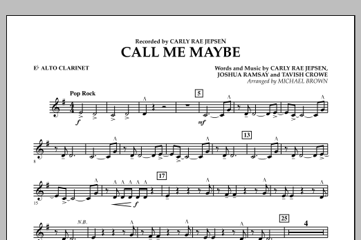 Call Me Maybe - Eb Alto Clarinet (Concert Band)