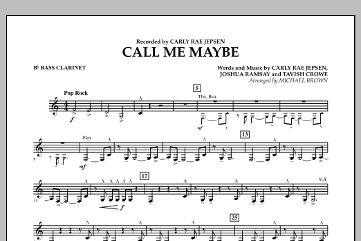 Call Me Maybe - Bb Bass Clarinet (Concert Band)