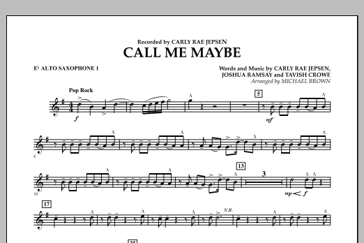 Call Me Maybe - Eb Alto Saxophone 1 (Concert Band)