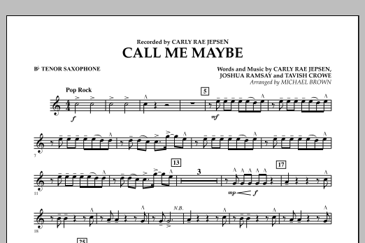 Call Me Maybe - Bb Tenor Saxophone (Concert Band)