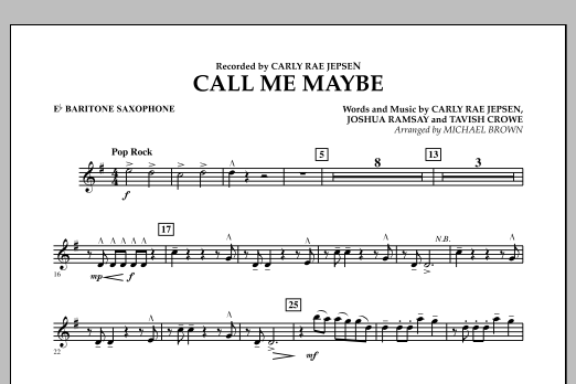Call Me Maybe - Eb Baritone Saxophone (Concert Band)