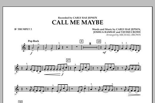Call Me Maybe - Bb Trumpet 2 (Concert Band)