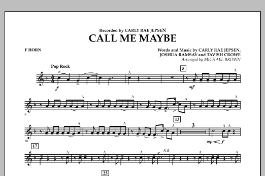 page one of Call Me Maybe - F HornASALTTEXT